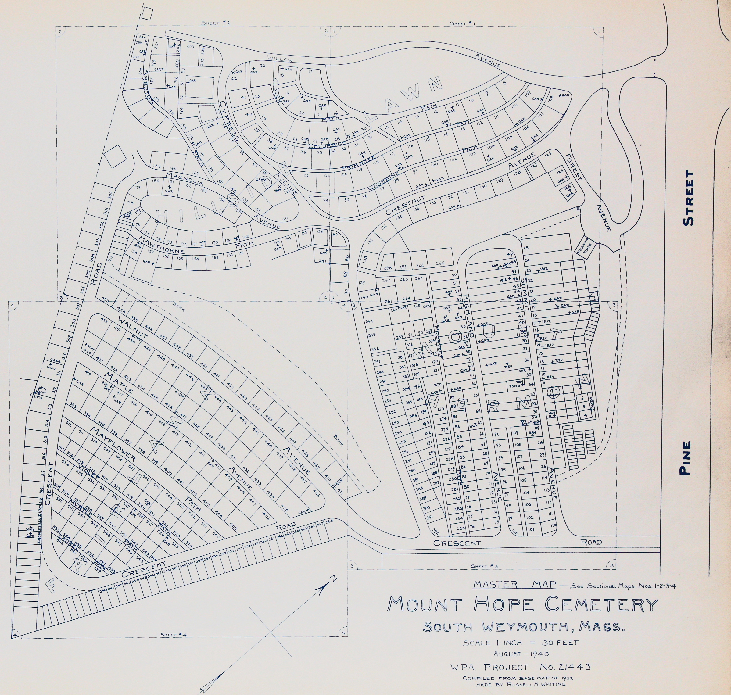 Mount Hope Cemetery master map